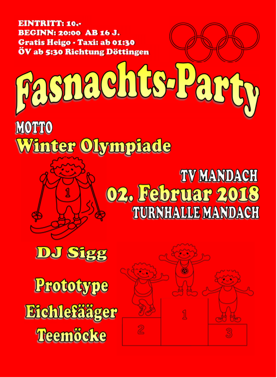 Flyer Fasnachtsparty 2018